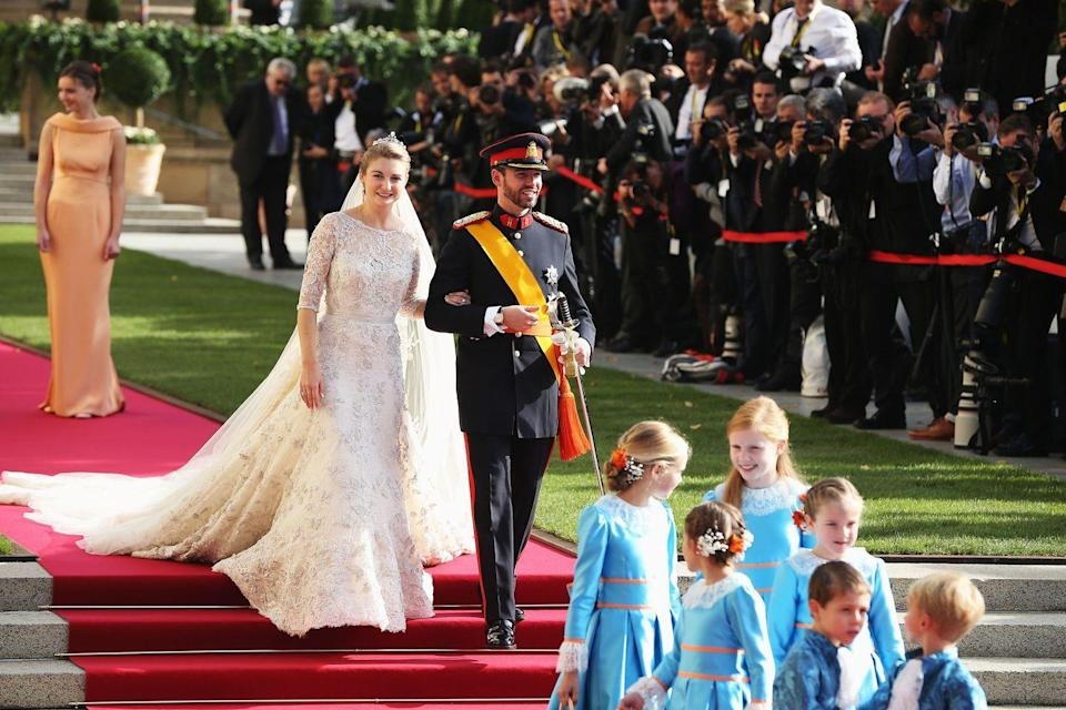 <p>Countess Stephanie of Luxembourg married Hereditary Grand Duke of Luxembourg, Prince Guillaume on October 20, 2012 at Notre-Dame Cathedral in Luxembourg City. Her gown, consisting of a 13-foot train, was embellished with 50,000 pearls and 80,000 transparent crystals.</p>