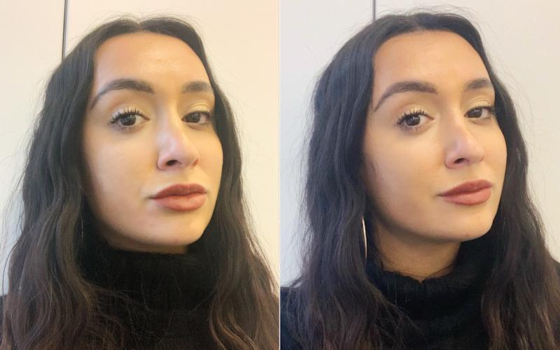 Angela Trakoshis wears It Cosmetics Pillow Lips shade Serene in cream (left) and matte (right) finishes.