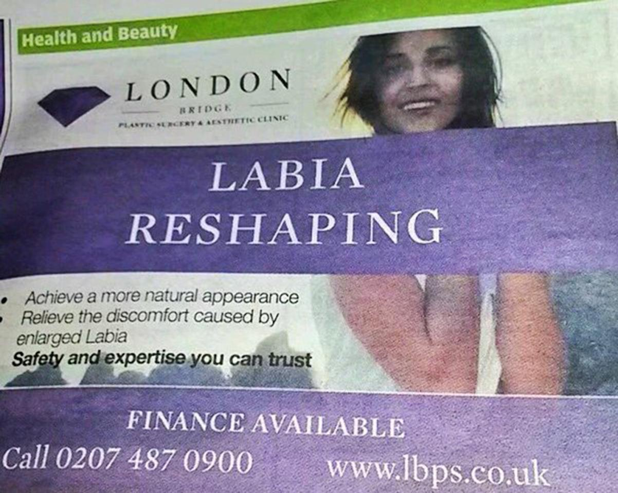 "<p>Five individuals took issue with the fact that London Bridge Plastic Surgery clinic's ad made references to ""a more natural appearance"" and ""enlarged labia."" The ASA viewed this as ""socially irresponsible."" <i>(Photo @<a href=""https://twitter.com/EmmaDixon_Green/status/696969945452781570"">EmmaDixon/Twitter</a>)</i><br /></p>"