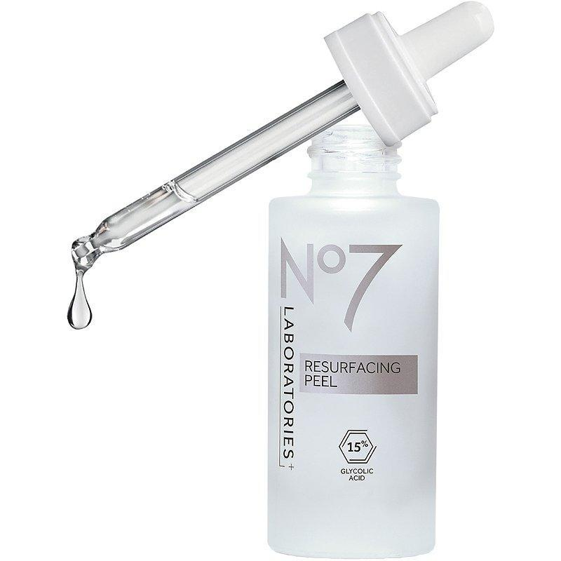 """As the name suggests, No7's Laboratories Resurfacing Peel 15% Glycolic Acid is formulated with glycolic acid, one of the most common and powerful types of AHAs. To avoid any irritation, board-certified dermatologist <a href=""""https://mbeautyclinic.com/"""" rel=""""nofollow noopener"""" target=""""_blank"""" data-ylk=""""slk:Tess Mauricio"""" class=""""link rapid-noclick-resp"""">Tess Mauricio</a>, who is based in Beverly Hills, recommends applying the liquid after cleansing and leaving it on for 10 minutes before rinsing. """"Your skin can feel immediately smoother even after the first application,"""" she tells <em>Allure</em>."""