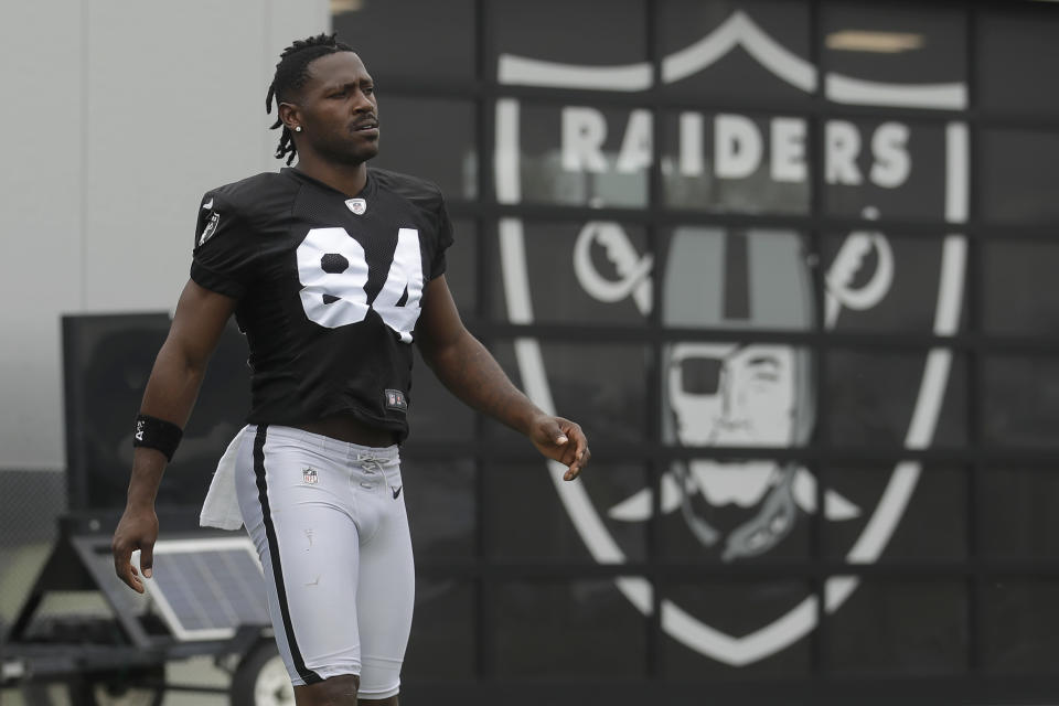 Antonio Brown has been released by the Raiders. (AP)
