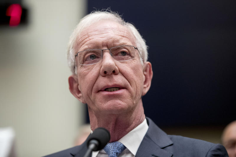 """Captain Chesley """"Sully"""" Sullenberger speaks during a House Committee on Transportation and Infrastructure hearing on the status of the Boeing 737 MAX on Capitol Hill in Washington, Wednesday, June 19, 2019. (AP Photo/Andrew Harnik)"""