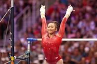 """<p><strong>US Olympic gymnasts who could qualify for the bar final:</strong> As for which two American gymnasts will make it into the uneven bar final, Salim-Beasley thinks Biles and Lee, despite the fact that Biles has had mistakes over the past few meets. """"I think with more repetition that she'll clean up some of those areas that haven't been as consistent or sharp,"""" Salim-Beasley said. """"On an Olympic level, you really cannot count anybody out, especially someone like Simone. If she's on her A game, she can have an amazing bar routine and qualify through."""" I agree with her predictions, as Lee has high difficulty and high execution to match, and Biles still possesses a solid bar routine.</p> <p><strong>Olympic artistic gymnastics bar final podium contenders:</strong> Chan and Sacramone Quinn both had three top gymnasts on their predictions lists for medals: Lee, Belgian Nina Derwael, and individual athlete from China Fan Yilin. These women are the strongest bar workers in the world right now, Chan noted, adding that it'll be close. Lee received a high score of 15.300 on night one of the Olympic Trials. She is the 2019 and 2021 national bar gold medalist and also landed bronze on the event at the 2019 World Championships (she's my prediction for gold, by the way). Derwael is a <a href=""""http://www.intlgymnast.com/interviews/nina-derwael-it-feels-as-if-the-uneven-bars-speak-to-me-and-in-return-i-listen/"""" class=""""link rapid-noclick-resp"""" rel=""""nofollow noopener"""" target=""""_blank"""" data-ylk=""""slk:two-time world and European champion"""">two-time world and European champion</a> on bars, and she has two bar skills named after her. Yilin is a two-time world champ.</p> <p>While Biles has a chance at gold on the other events, I'm not certain that she can contend for a podium spot. She scores in the 14s, while these top gymnasts typically score above a 15 in competition. Neither Chan nor Sacramone Quinn named Biles for podium contention in their predictions. Chan, though, mentioned th"""