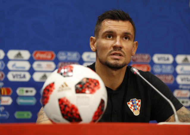 Croatia's Dejan Lovren answers a question during a press conference at Luzhniki Stadium on the eve of the semifinal match between Croatia and England at the 2018 soccer World Cup in Moscow, Russia, Tuesday, July 10, 2018. (AP Photo/Rebecca Blackwell)