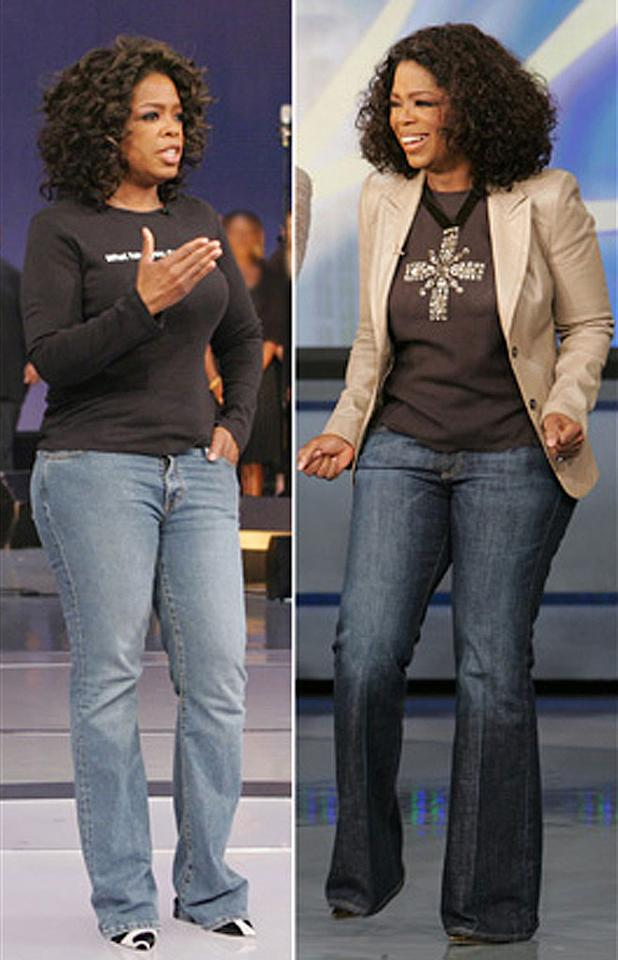 """Oprah's Bra and Jean Intervention:  Oprah thought she looked pretty cute in her old jeans... until Stacy London, host of TLC's """"<a href=""""/what-not-to-wear-tlc/show/35591"""">What Not to Wear</a>,"""" came along. Stacy, an expert who has seen more """"mom jeans"""" than she can count, says Oprah's old stonewashed jeans were all wrong for her. After only seven attempts, Oprah finds her perfect fit in a pair of AG """"Club"""" jeans! """"I love these [jeans] because the crease helps to lengthen,"""" Oprah says. """"And even with the cut it's not so low that when you sit, it rises down and you see your crack — that's very important to me."""" <a href=""""http://www.oprah.com/oprahshow/Makeover-All-Stars_1/"""" rel=""""nofollow"""">Source: Oprah</a>"""
