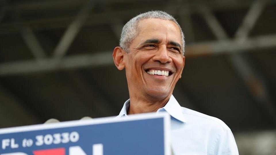 Former President Barack Obama campaigns for Democratic presidential nominee Joe Biden at Camping World Stadium Tuesday in Orlando, Florida. (Photo by Octavio Jones/Getty Images)
