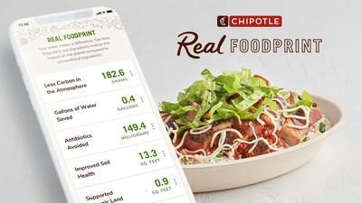 The Real Foodprint feature on the Chipotle app and Chipotle.com is the first radically transparent sustainability tracker of its kind, showing the sustainable impact guests are helping make on the planet by choosing Chipotle's real, responsibly-sourced ingredients versus conventional ones.