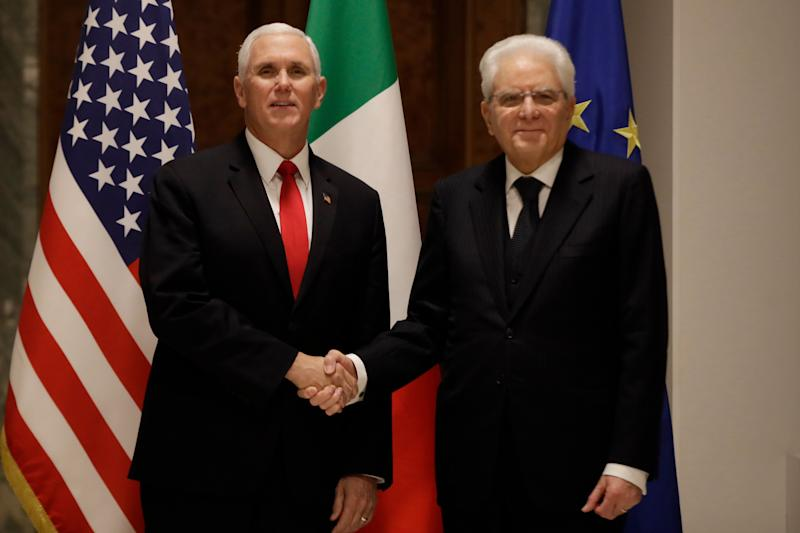 Vice President Mike Pence shakes hands with the President of the Italian Republic Sergio Mattarella, right, during their meeting at the Quirinale Presidential palace, in Rome, Friday, Jan 24, 2020. (AP Photo/Alessandra Tarantino) (Photo: ASSOCIATED PRESS)