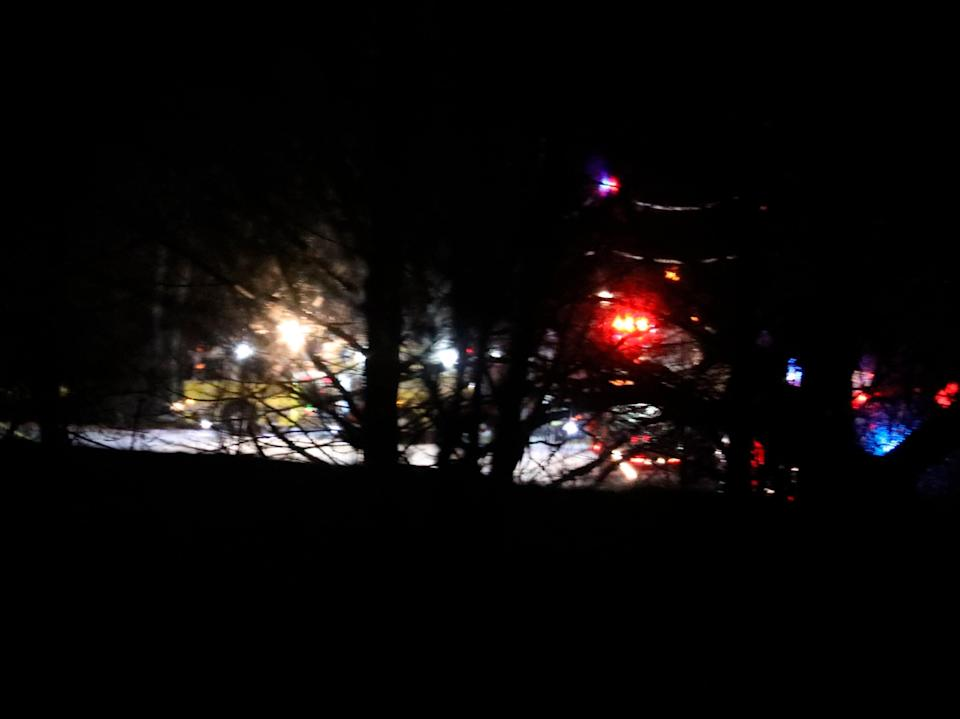 <p>Mendon firefighters and other emergency personnel respond to a military helicopter crash in a field near Cheese Factory Road and W. Bloomfield Road in Mendon, New York</p> (AP)
