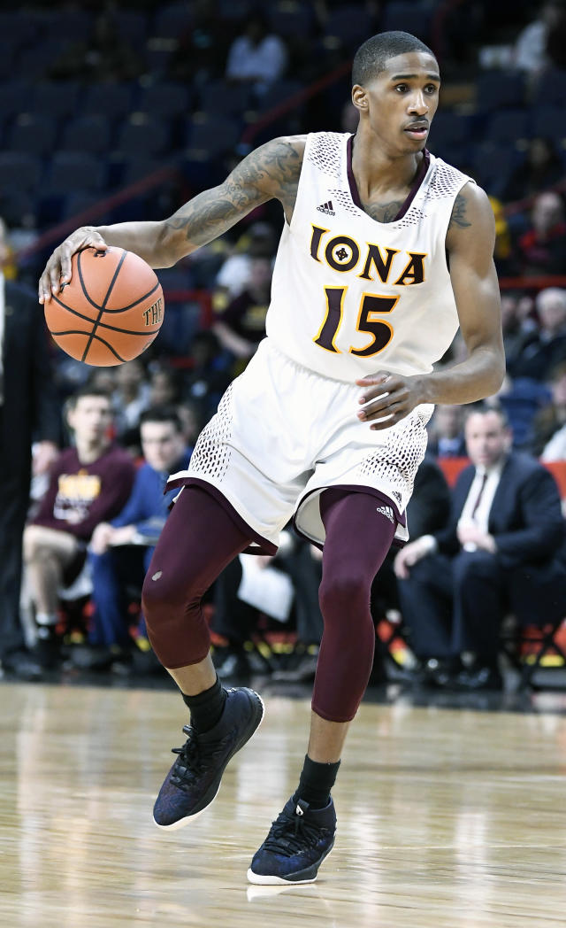 Iona guard Deyshonee Much (15) moves the ball against Fairfield during the first half of an NCAA college basketball game in the championship of the Metro Atlantic Athletic Conference tournament Monday, March 5, 2018, in Albany, N.Y. (AP Photo/Hans Pennink)