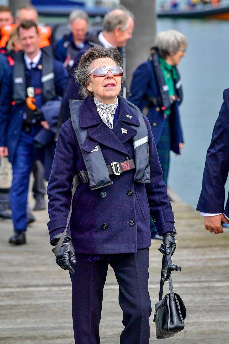 The Princess Royal arrives at the Royal Victoria Yacht Club, on the Isle of Wight. Picture date: Wednesday April 14, 2021.