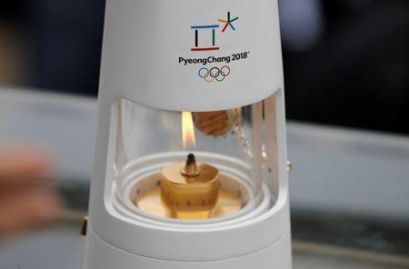 Athletics Olympic - Flame Handover Ceremony For Pyeongchang 2018 Olympics - Panathenaic Stadium, Athens, Greece - October 31, 2017 General view of the flame during the handover ceremony REUTERS/Alkis Konstantinidis