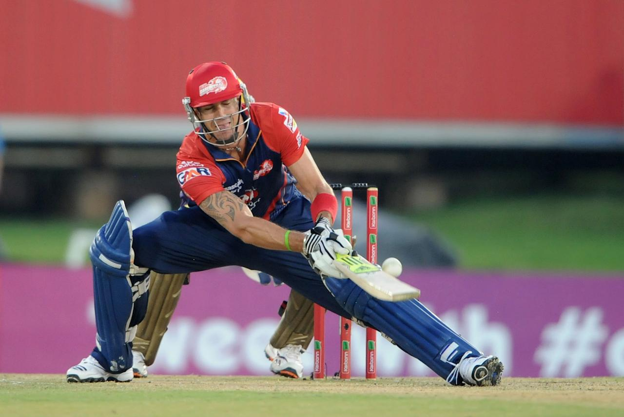 PRETORIA, SOUTH AFRCA - OCTOBER 13:  Kevin Pietersen of the Daredevils bats during the Karbonn Smart CLT20 Group A match between Kolkata Knight Riders (IPL) and Delhi Daredevils (IPL) at SuperSport Park on October 13, 2012 in Pretoria, South Africa.  (Photo by Lee Warren/Gallo Images/Getty Images)