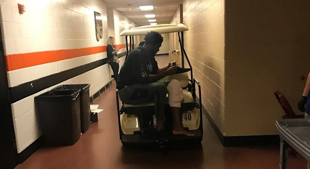 Joel Embiid ices his knee after Game 1 Saturday in the bowels of the Wells Fargo Center. (Vincent Goodwill/Yahoo Sports)
