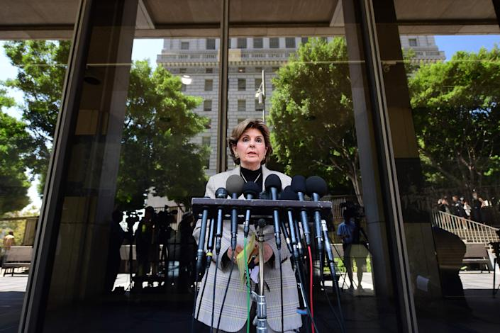 Lawyer Gloria Allred, who represents some of Harvey Weinstein's accusers, speaks to the press outside court on July 21, 2021, after Weinstein pleaded not guilty to sex-crime charges in Los Angeles.