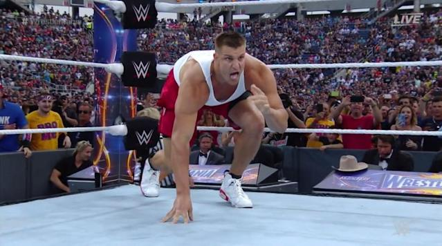 """<p>Rob Gronkowski got in the ring at Wrestlemania as he helped his friend Mojo Rawley win the Andre the Giant Memorial Battle Royal.</p><p>Gronkowski got in the corner and speared Jinder Mahal.</p><p>The <a href=""""https://twitter.com/hashtag/AndreBattleRoyal?src=hash"""" rel=""""nofollow noopener"""" target=""""_blank"""" data-ylk=""""slk:#AndreBattleRoyal"""" class=""""link rapid-noclick-resp"""">#AndreBattleRoyal</a> just got a dose of <a href=""""https://twitter.com/Patriots"""" rel=""""nofollow noopener"""" target=""""_blank"""" data-ylk=""""slk:@Patriots"""" class=""""link rapid-noclick-resp"""">@Patriots</a>' <a href=""""https://twitter.com/RobGronkowski"""" rel=""""nofollow noopener"""" target=""""_blank"""" data-ylk=""""slk:@RobGronkowski"""" class=""""link rapid-noclick-resp"""">@RobGronkowski</a>. Watch <a href=""""https://twitter.com/hashtag/WrestleMania?src=hash"""" rel=""""nofollow noopener"""" target=""""_blank"""" data-ylk=""""slk:#WrestleMania"""" class=""""link rapid-noclick-resp"""">#WrestleMania</a> streaming LIVE at 7e/4p on <a href=""""https://twitter.com/WWENetwork"""" rel=""""nofollow noopener"""" target=""""_blank"""" data-ylk=""""slk:@WWENetwork"""" class=""""link rapid-noclick-resp"""">@WWENetwork</a>! <a href=""""https://t.co/fpoMaJAEHw"""" rel=""""nofollow noopener"""" target=""""_blank"""" data-ylk=""""slk:pic.twitter.com/fpoMaJAEHw"""" class=""""link rapid-noclick-resp"""">pic.twitter.com/fpoMaJAEHw</a>— WWE (@WWE) <a href=""""https://twitter.com/WWE/status/848663050320175104"""" rel=""""nofollow noopener"""" target=""""_blank"""" data-ylk=""""slk:April 2, 2017"""" class=""""link rapid-noclick-resp"""">April 2, 2017</a></p><p>Big assist from the Patriots' tight end.</p>"""