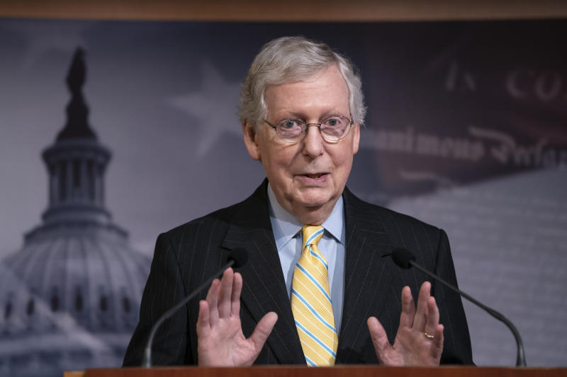 "Senate Majority Leader Mitch McConnell, R-Ky., holds a news conference ahead of the Fourth of July break, at the Capitol in Washington, Thursday, June 27, 2019. House Speaker Nancy Pelosi says the House will ""reluctantly"" pass the Senate version of a border funding package even though it won't include the increased migrant protections Democrats had wanted. (AP Photo/J. Scott Applewhite)"