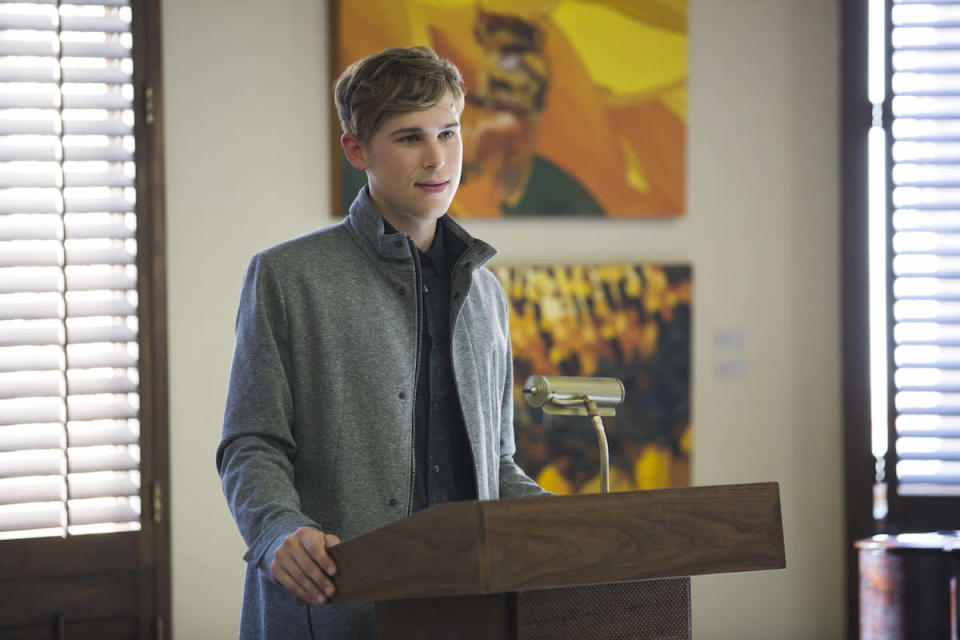 <p>Liberty High's literary magazine editor, Ryan Shaver, published one of Hannah's personal poems without her permission. This 17-year-old may be intellectual, but he's not ethical. (Photo: Netflix) </p>