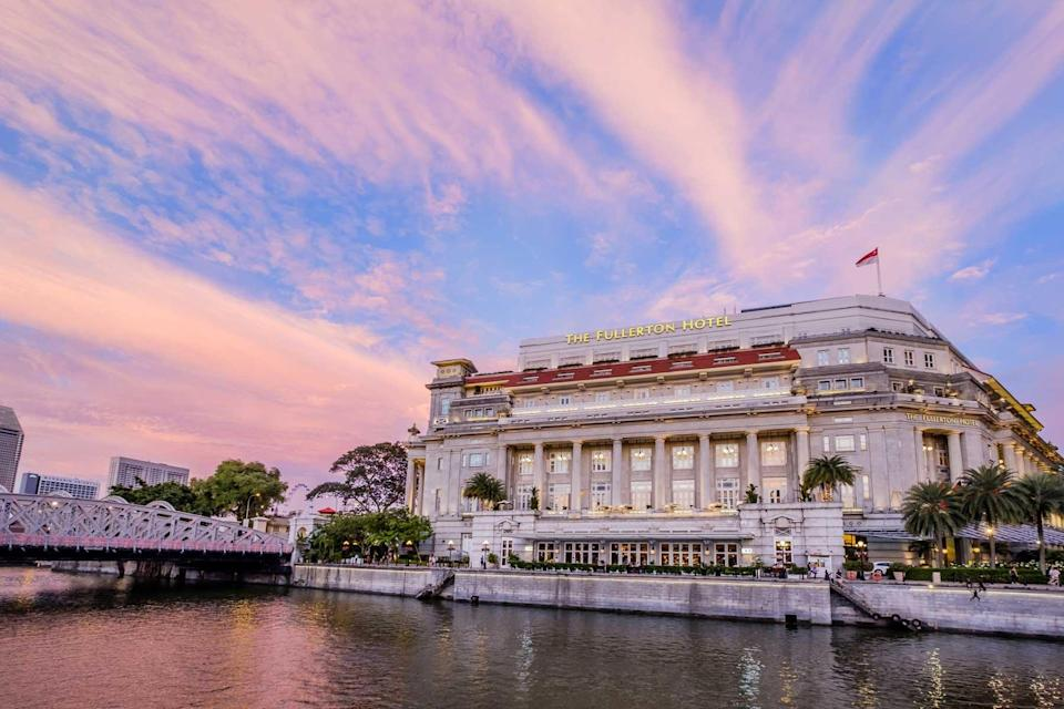 Exterior of The Fullerton Hotel in Singapore, voted one of the best hotels in the world
