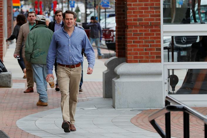 Seth Moulton arrives for a campaign stop in Concord, N.H., in April. (Photo: Brian Snyder/Reuters)