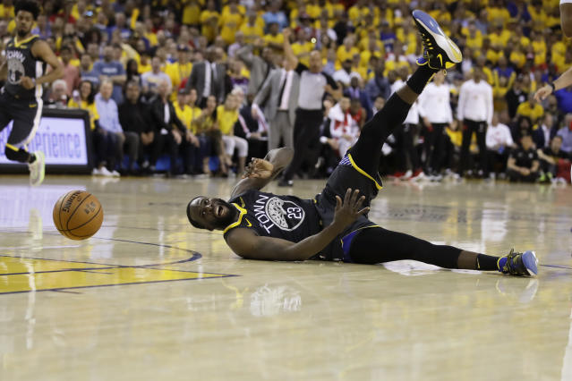 Golden State Warriors forward Draymond Green loses the ball during the second half against the Toronto Raptors in Game 6 of basketball's NBA Finals, Thursday, June 13, 2019, in Oakland, Calif. (Frank Gunn/The Canadian Press via AP)
