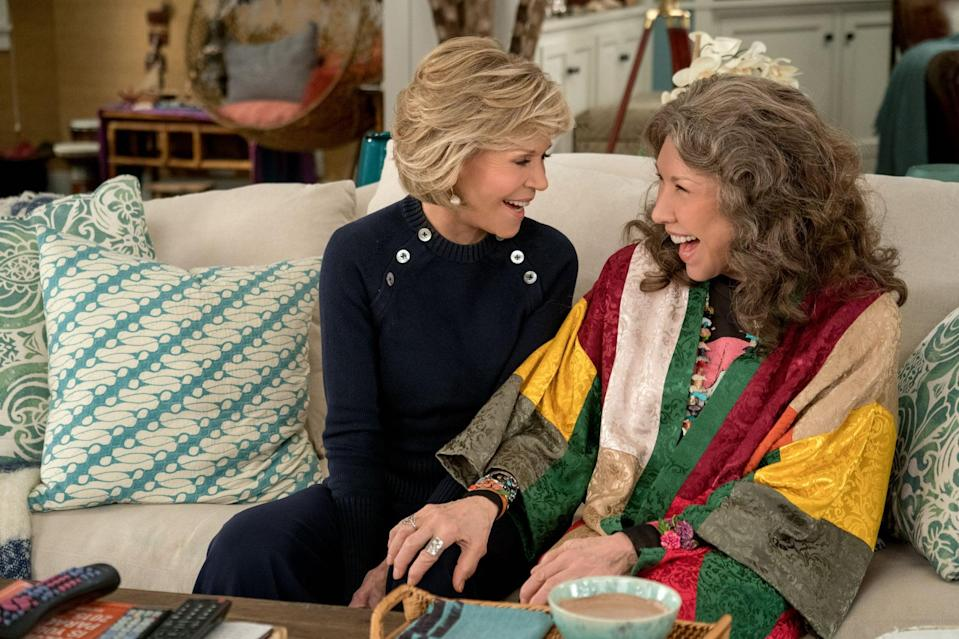 """<p><strong>Grace &amp; Frankie</strong> revolves around two nemeses-turned-BFFs who both flee to their shared beach house property after their husbands leave them (for each other), and they must learn to live together, despite their <em>very</em> different personalities. If Frankie doesn't become your new pot-loving icon, then you're nuts. </p> <p><a href=""""http://www.netflix.com/title/80017537"""" class=""""link rapid-noclick-resp"""" rel=""""nofollow noopener"""" target=""""_blank"""" data-ylk=""""slk:Watch Grace &amp; Frankie on Netflix now."""">Watch <strong>Grace &amp; Frankie</strong> on Netflix now.</a></p>"""