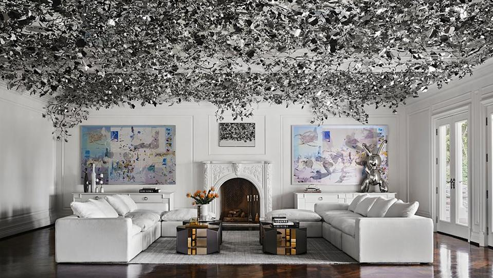 The living room has a silver-leaf ceiling. - Credit: Photo: Courtesy of Douglas Friedman