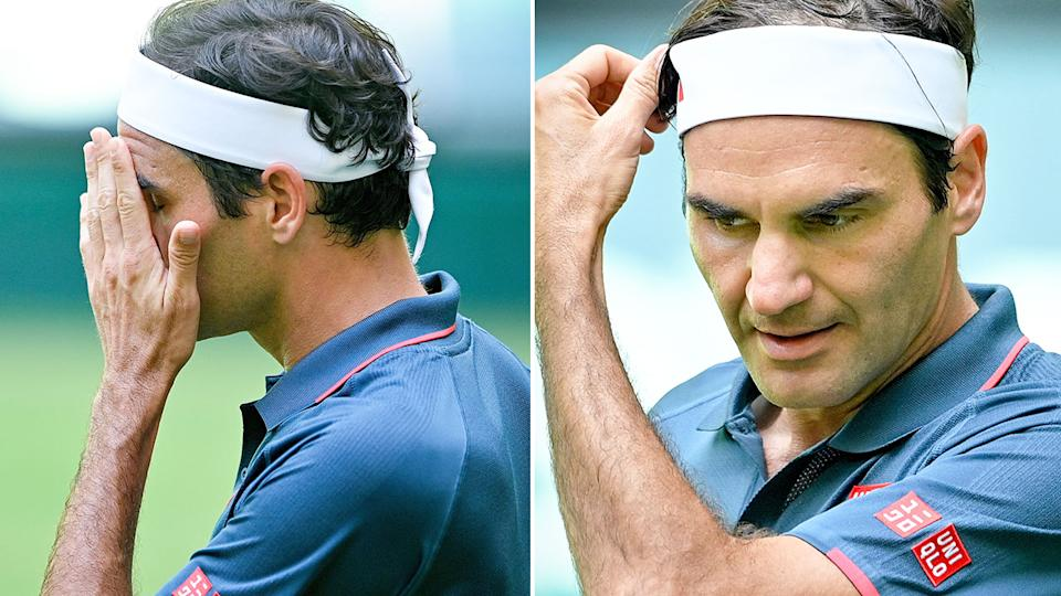 Seen here, Roger Federer cut a dejected figure in the second round of the Halle Open.