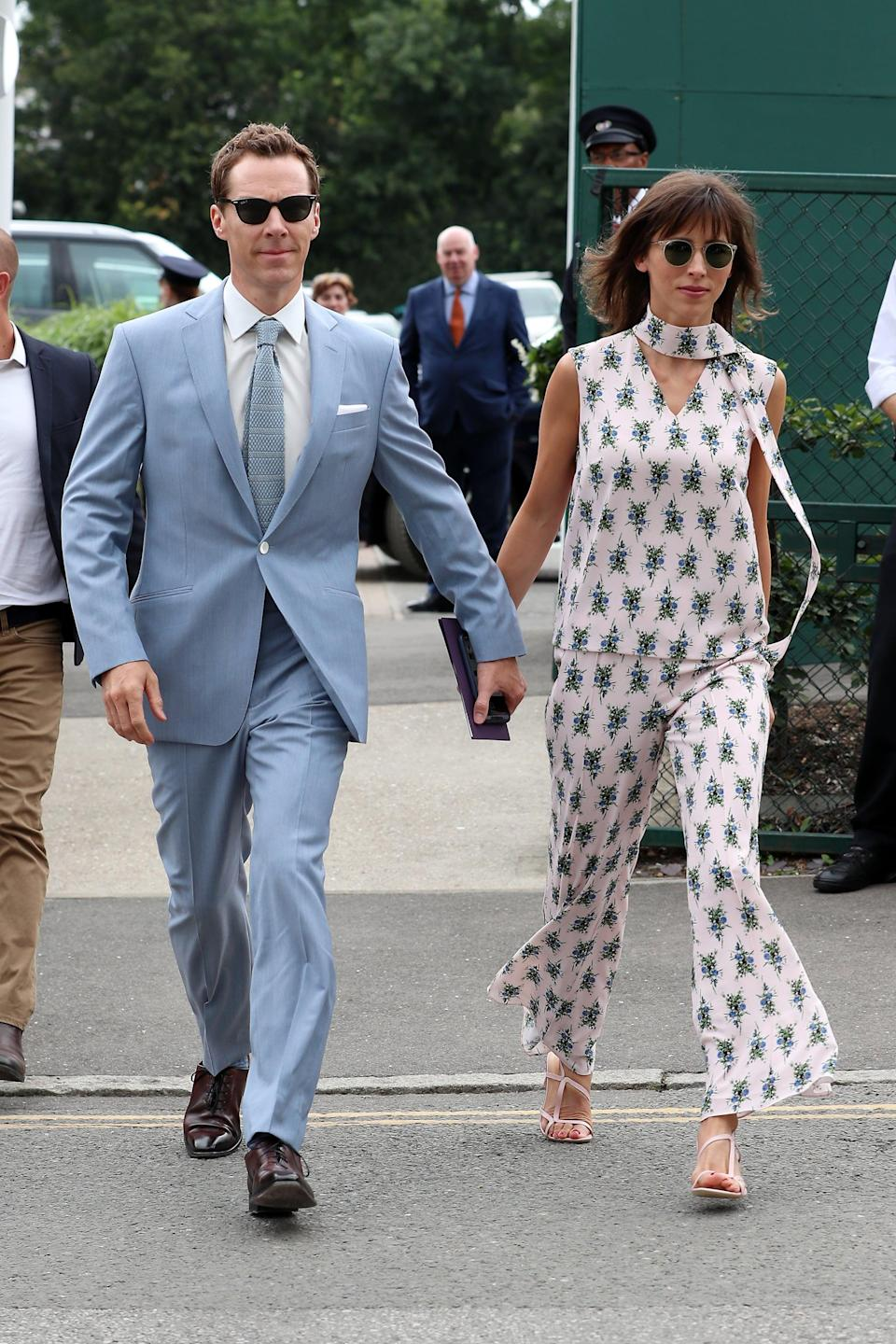 <p>Benedict wore a powder-blue suit, and Sophie wore a printed coordinated set. </p>