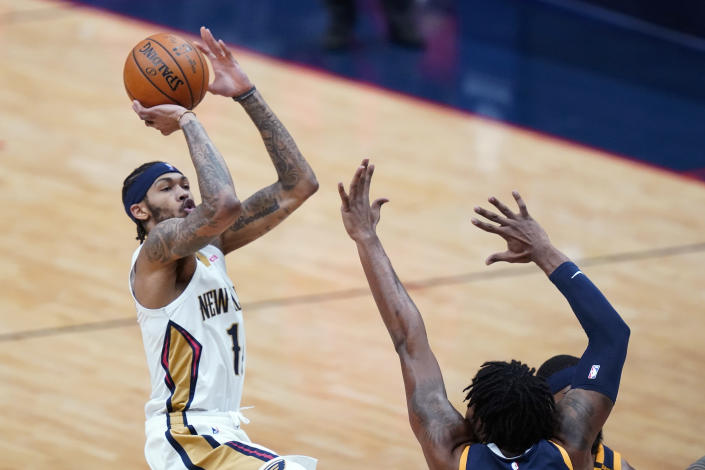 New Orleans Pelicans center Steven Adams (12) shoots in the first half of an NBA basketball game against the Utah Jazz in New Orleans, Monday, March 1, 2021. (AP Photo/Gerald Herbert)