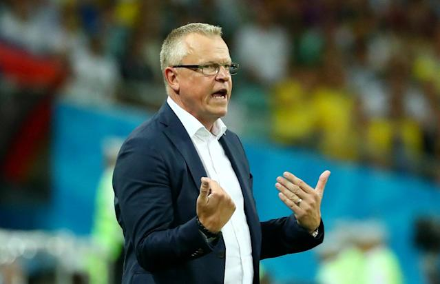 Soccer Football - World Cup - Group F - Germany vs Sweden - Fisht Stadium, Sochi, Russia - June 23, 2018 Sweden coach Janne Andersson reacts REUTERS/Pilar Olivares