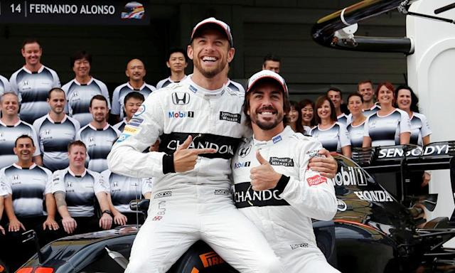 "<span class=""element-image__caption"">Jenson Button, left, will make a return to the track at the Monaco Grand Prix, replacing Fernando Alonso, right, who has chosen instead to compete in the Indianapolis 500 race. </span> <span class=""element-image__credit"">Photograph: Toru Hanai/Reuters</span>"