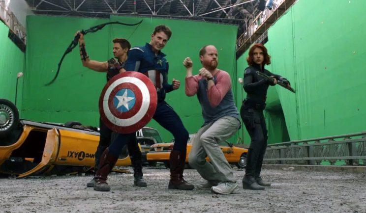 Joss Whedon on set with The Avengers - Credit: Marvel