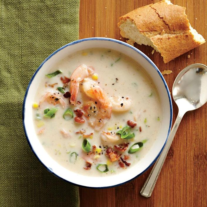"""<p>Serve this hearty chowder with a crusty baguette. Use fresh corn, if available.</p> <p> <a rel=""""nofollow noopener"""" href=""""http://www.myrecipes.com/recipe/shrimp-corn-chowder"""" target=""""_blank"""" data-ylk=""""slk:View Recipe: Shrimp and Corn Chowder"""" class=""""link rapid-noclick-resp"""">View Recipe: Shrimp and Corn Chowder</a></p>"""