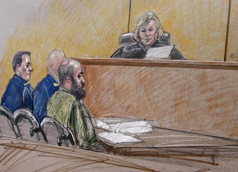 In this courtroom sketch, U.S. Army Maj. Nidal Hasan, right, sits by his former defense attorneys Maj. Joseph Marcee, far left, and Lt. Col. Kris Poppe, center, with Judge, Col. Tara Osborn, behind the bench during a pretrial hearing, Tuesday, July 9, 2013, in Fort Hood, Texas. Jury selection is set to start Tuesday in the long-awaited murder trial of Hasan, the Army psychiatrist accused of opening fire with a semi-automatic gun at Fort Hood nearly four years ago. (AP Photo/Brigitte Woosley)