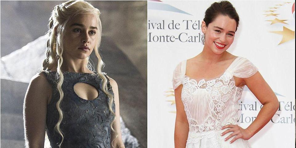 "<p>While her <em><a href=""https://www.goodhousekeeping.com/life/entertainment/g3367/game-of-thrones-cast-in-real-life/"" rel=""nofollow noopener"" target=""_blank"" data-ylk=""slk:Game of Thrones"" class=""link rapid-noclick-resp"">Game of Thrones</a></em> character had waist-length blonde curls, Emilia Clarke typically wears her hair in a rich chocolate brown shade, and opts for glam red lipstick over bronze makeup.</p>"