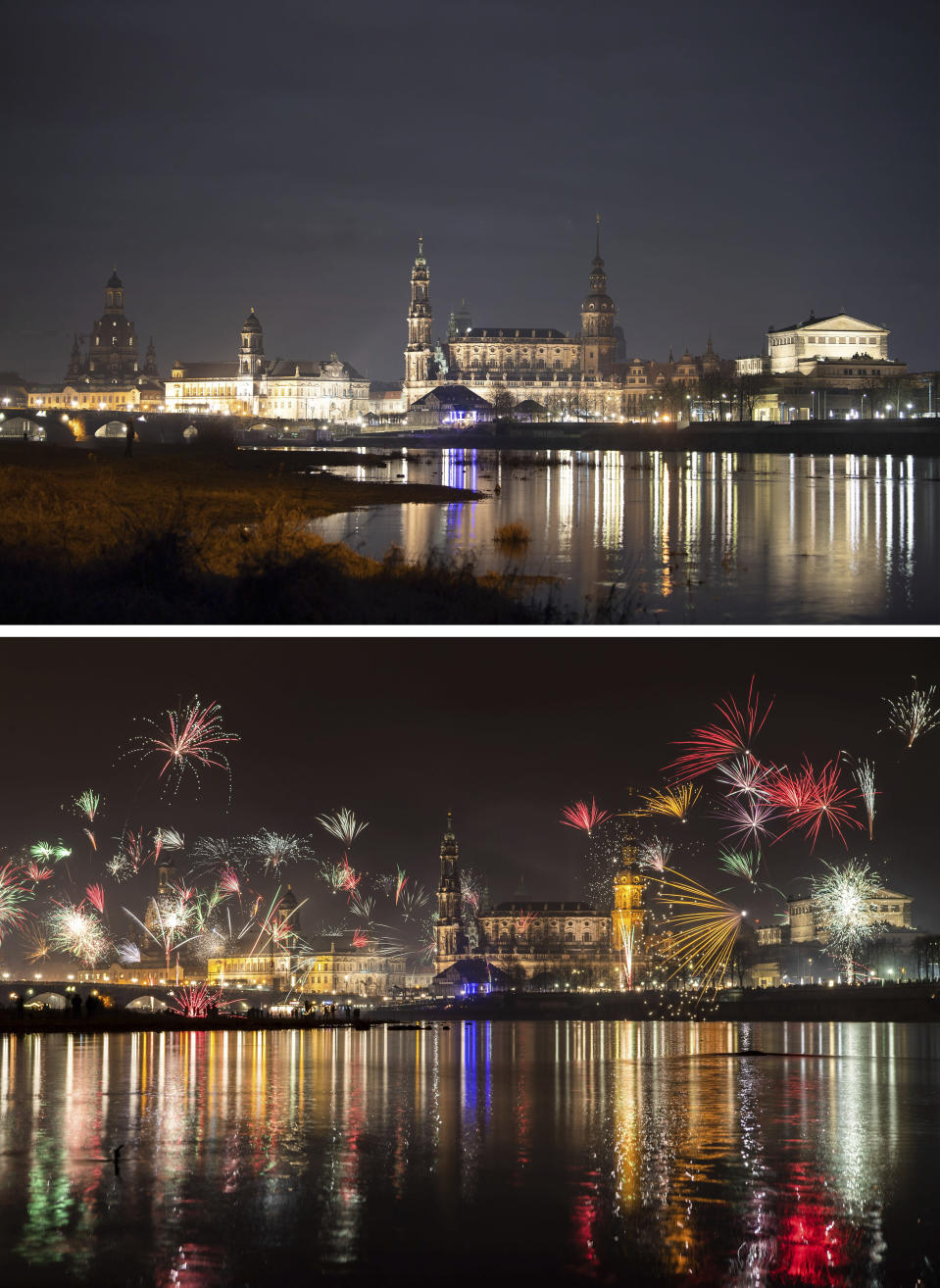 A combo of images shows fireworks in the first minutes of the New Year on Jan. 1, 2020, bottom, and an image taken from the same location in Dresden, Germany early on Jan. 1, 2021 without fireworks. As the world says goodbye to 2020, there will be countdowns and live performances, but no massed jubilant crowds in traditional gathering spots like the Champs Elysees in Paris and New York City's Times Square this New Year's Eve. The virus that ruined 2020 has led to cancelations of most fireworks displays and public events in favor of made-for-TV-only moments in party spots like London and Rio de Janeiro. (Sebastian Kahnert/DPA via AP)