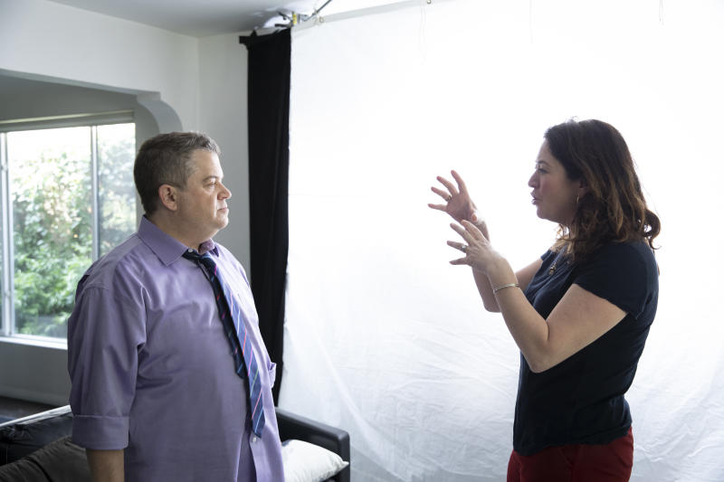 Oswalt and Liz Garbus on the set of 'I'll Be Gone in the Dark' (Photo: Courtesy HBO)