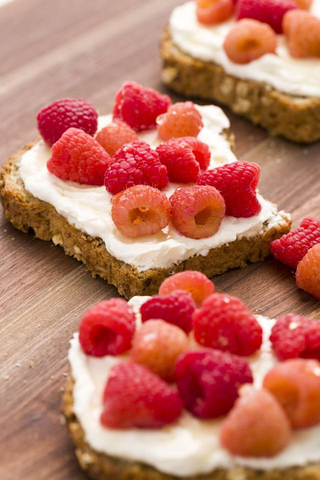 """<p>Sweetened ricotta is the perfect spread for toast. </p><p>Get the recipe from <a rel=""""nofollow"""">Delish</a>.</p><p><a rel=""""nofollow"""" href=""""https://www.amazon.com/LapGear-Media-Breakfast-Lap-Desk/dp/B076J41X1M"""">BUY NOW</a> <strong><em>Breakfast In Bed Tray, $35, amazon.com</em></strong></p>"""