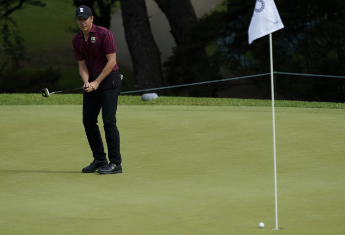 Mexico's Carlos Ortiz XX fails a putt on the second green during the first round of the men's golf event at the 2020 Summer Olympics on Wednesday, July 28, 2021, at the Kasumigaseki Country Club in Kawagoe, Japan. (AP Photo/Matt York)