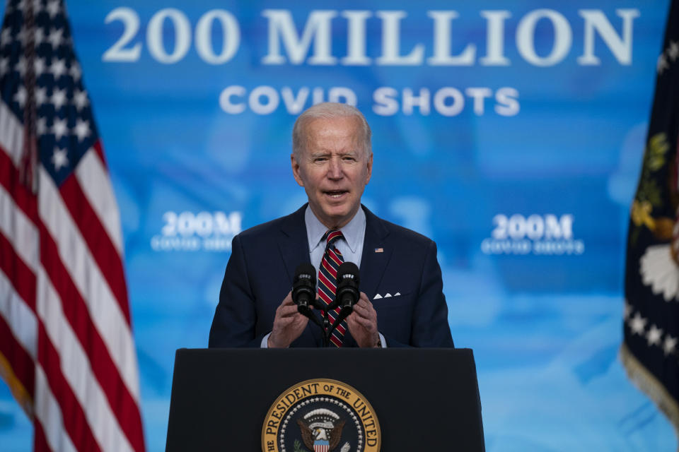 President Joe Biden speaks about COVID-19 vaccinations at the White House on April 21. (Evan Vucci/AP)