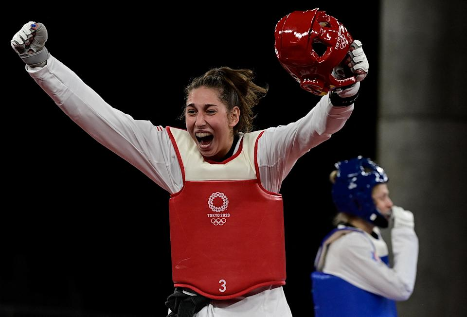 Anastasija Zolotic took down Russian athlete Tatiana Minina 25-17 to win the fourth gold medal of the Games so far for Team USA. (Javier Soriano/AFP)