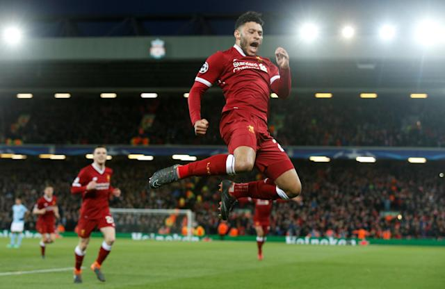 <p>Soccer Football – Champions League Quarter Final First Leg – Liverpool vs Manchester City – Anfield, Liverpool, Britain – April 4, 2018 Liverpool's Alex Oxlade-Chamberlain celebrates goal REUTERS/Andrew Yates </p>