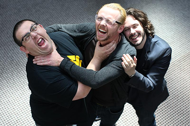 Nick Frost, Simon Pegg and Edgar Wright, pictured to promote 'The World's End' in 2013. (Photo by Suzanne Kreiter/The Boston Globe via Getty Images)