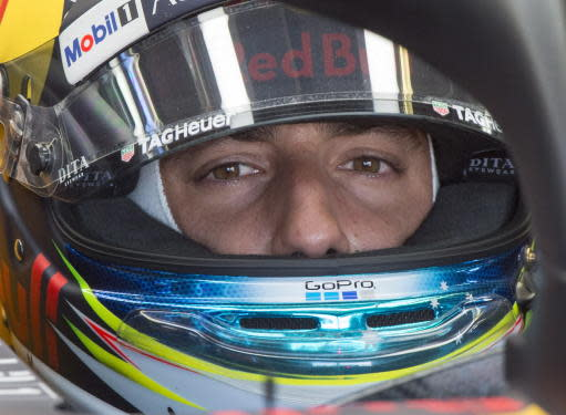 Red Bull Racing driver Daniel Ricciardo, of Australia, waits to ring the third practice session for the F1 Canadian Grand Prix auto race, Saturday, June 9, 2018 in Montreal. (Ryan Remiorz/The Canadian Press via AP)
