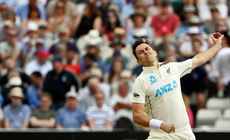 Two wickets - New Zealand's Trent Boult bowls on the first day of the second Test against England at Edgbaston
