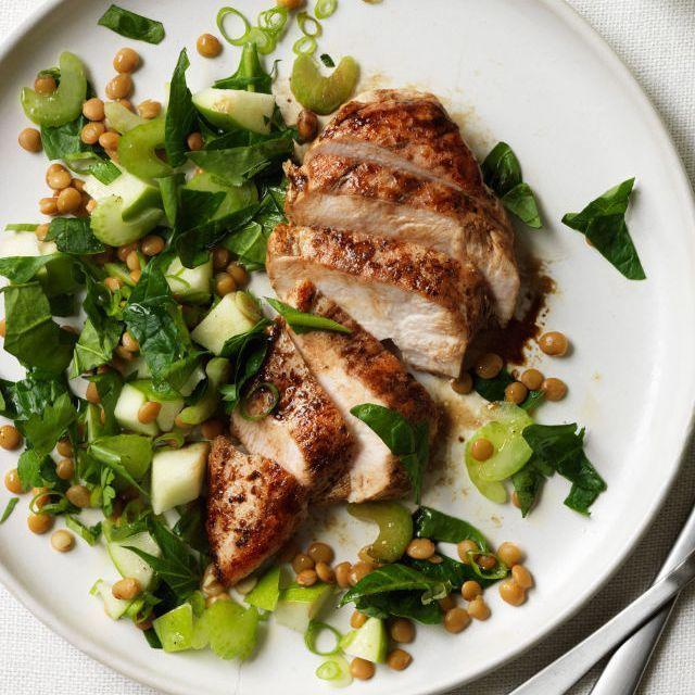"""<p>This balsamic chicken and leafy greens recipe will be ready in 25 minutes flat.</p><p><u><em><a href=""""https://www.womansday.com/food-recipes/food-drinks/recipes/a11833/balsamic-chicken-with-apple-lentil-and-spinach-salad-recipe/"""" rel=""""nofollow noopener"""" target=""""_blank"""" data-ylk=""""slk:Get the recipe for Balsamic Chicken with Apple, Lentil, and Spinach Salad."""" class=""""link rapid-noclick-resp"""">Get the recipe for Balsamic Chicken with Apple, Lentil, and Spinach Salad.</a></em></u></p>"""