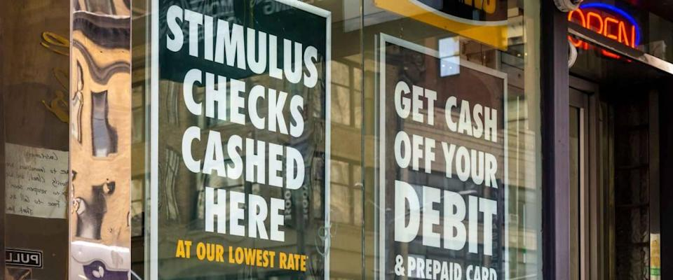 New York NY/USA_May 29, 2020 A check cashing business advertises that they cash stimulus checks