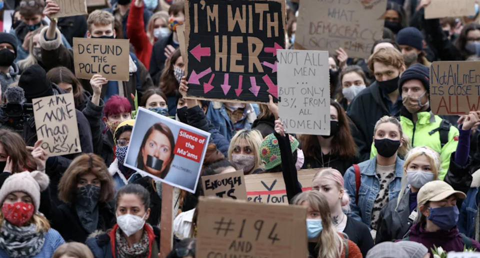 A photo of a protest after Sarah Everard's murder prompted widespread anger across the UK.