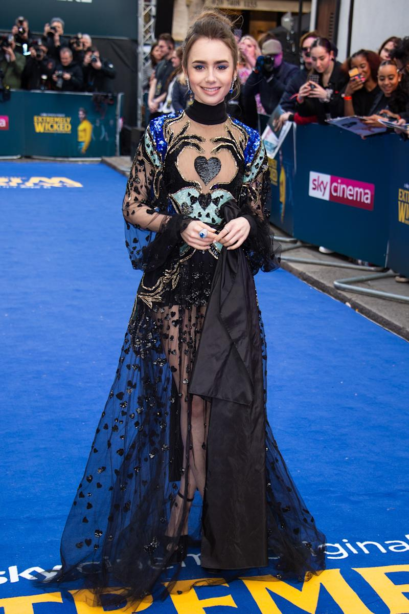 075f87b1c5 Lily Collins Wears Sheer Elie Saab Gown to
